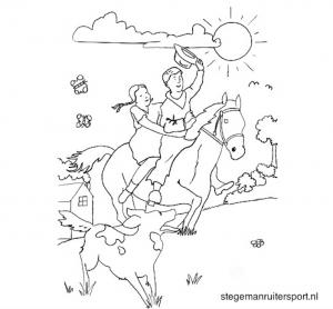 Paarden kleurplaat kinderen op paard met hond voorbeeld