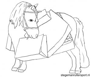 paarden kleurplaat pony doet boodschappen