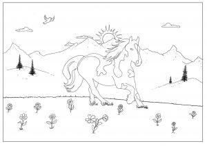 paardenkleurplaat bergen
