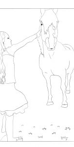 paardenkleurplaat paard met meisje