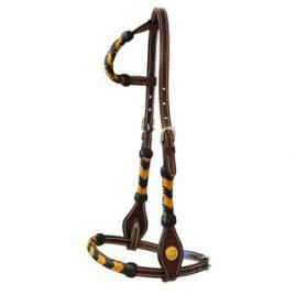 Eenoor westernhoofdstel met kostbare gevlochten neusriem, bakstukken en oor met glitter paard pony